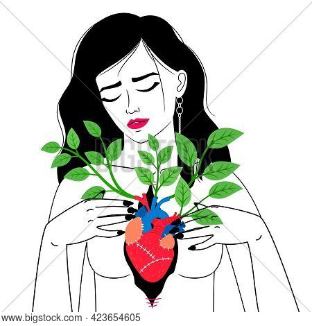 Woman With Blooming Heart. Cartoon Female Showing Biological Organ In Chest With Branches With Green