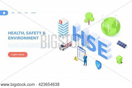 Hse Concept. A Banner Dedicated To Health And Safety, Safety And The Environment.