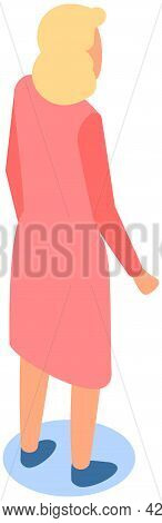 Girl Stands Pensively Turned Her Back. Blond Woman In Pink Dress Looks Behind Her. Businesswoman Iso