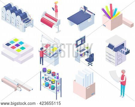 Set Of Equipment For Work In Printing. Photocopier, Printer, Paper Cutter Isolated On White Backgrou