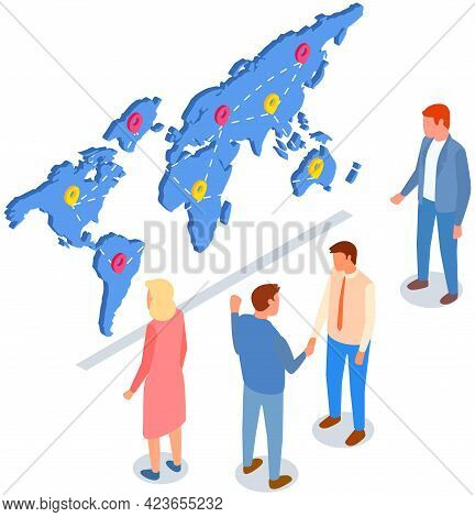 International Postal Mail Delivery Service Concept. People Studying Destination Map With Marks. Coll