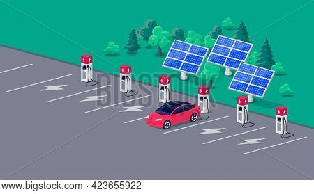 Electric Car Charging On Solar Charger Station With Many Charging Stalls
