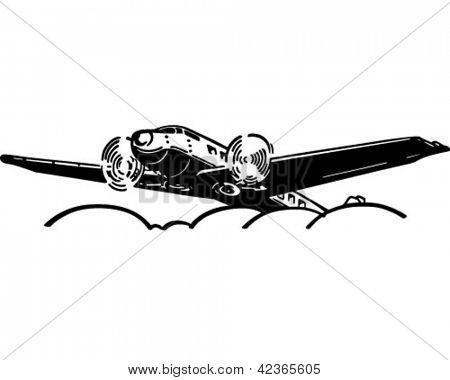 Airplane Flying Above Clouds - Retro Clipart Illustration