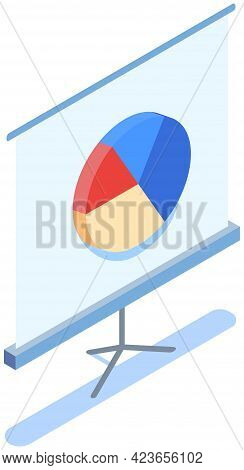 Sectorized Pie Chart On Poster. Statistical Graph Presentation Board Isolated On White Background. S