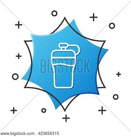 White Line Fitness Shaker Icon Isolated On White Background. Sports Shaker Bottle With Lid For Water