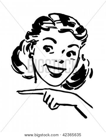 Cute Gal Pointing - Retro Clipart Illustration