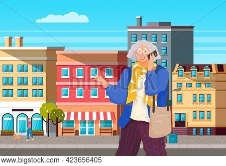 Eldery Woman With Smartphone Is Communicating. Female Character Using Mobile Device In City Center.