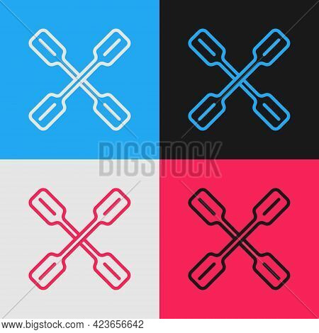 Pop Art Line Paddle Icon Isolated On Color Background. Paddle Boat Oars. Vector