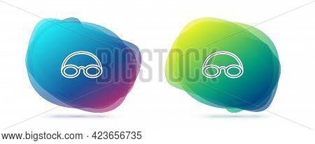 Set Line Glasses And Cap For Swimming Icon Isolated On White Background. Swimming Cap And Goggles. D