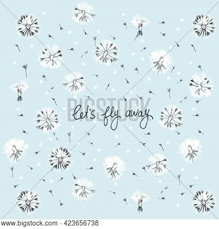 Lets Fly Away Vector Card. Hand Drawn Illustration Of Fluffy Dandelion Heads And Seeds