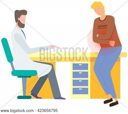 Man With Abdominal Pain In Consultation With Doctor. Gastroenterologist Consults Patient With Stomac