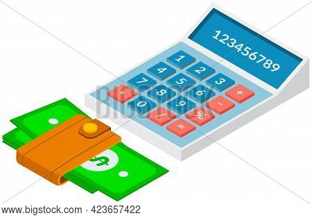 Paper Green Money In Wallet Next To Calculator Accessories For Office Work And Business Meetings. Ca
