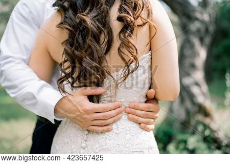 The Groom Gently Hugs The Bride. Hands Of The Groom On The Waist Of The Bride, Close-up