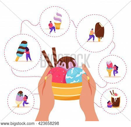 People With Assorted Ice Cream And Human Hands Holding Bowl Of Scoops On White Background Flat Vecto