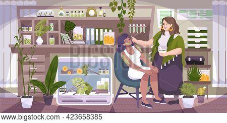 Alternative Medicine Studio Interior Flat Composition With Herbalist Applying Healing Herbal Extract