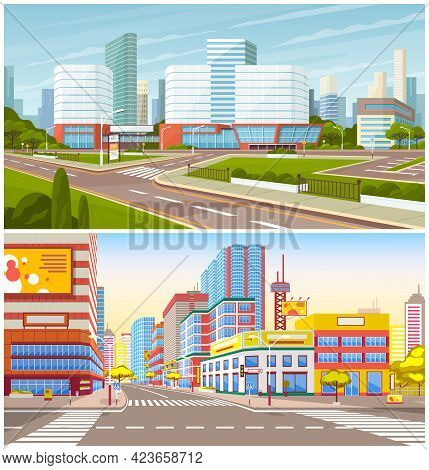 Landscape Of Urban Cities. Cityscapes Of Town Center With Malls. Roadways With Markup Against Backgr