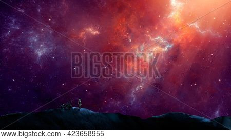 Silhouette Astronaut And Motorbike Standing On Mountain With Colorful Nebula. Space, Motorbike, Trav