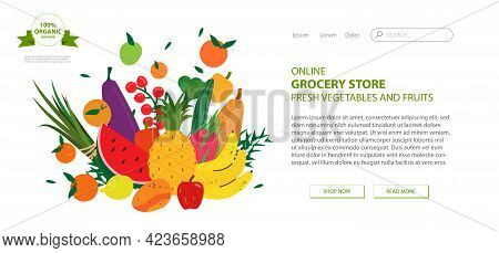 Web Page Design Template For Grocery Store, Online Market, Farm, Home Delivery Fresh Vegetables And