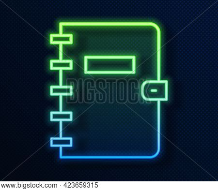 Glowing Neon Line Notebook Icon Isolated On Blue Background. Spiral Notepad Icon. School Notebook. W