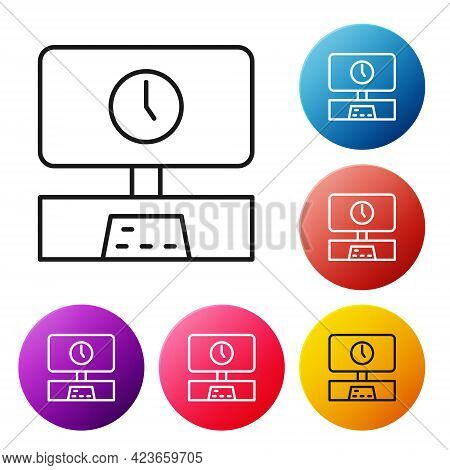 Black Line Smart Tv Time Icon Isolated On White Background. Television Sign. Set Icons Colorful Circ