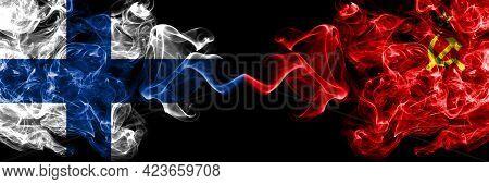 Finland, Finnish Vs Ussr, Soviet, Russia, Russian, Communism Smoky Flags Side By Side.