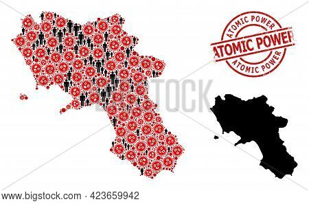 Mosaic Map Of Campania Region Organized From Covid-2019 Items And Demographics Elements. Atomic Powe