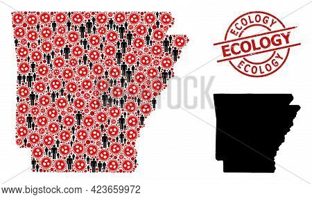 Collage Map Of Arkansas State Composed Of Virus Icons And People Items. Ecology Distress Seal Stamp.