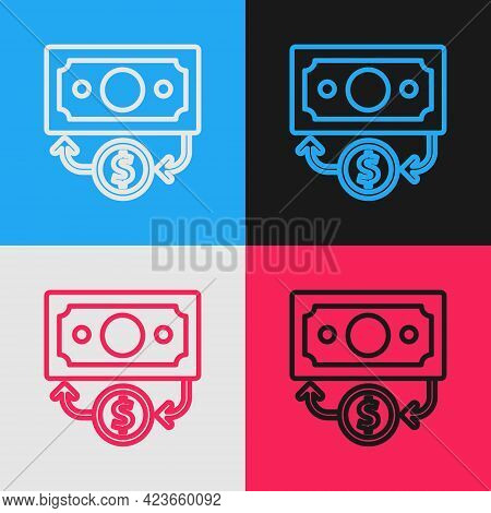 Pop Art Line Stacks Paper Money Cash Icon Isolated On Color Background. Money Banknotes Stacks. Bill