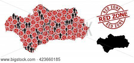 Mosaic Map Of Andalusia Province Organized From Covid Virus Items And Men Icons. Red Zone Grunge Wat