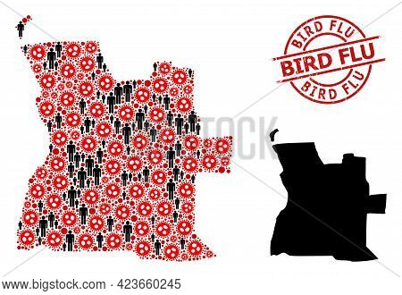 Collage Map Of Angola Constructed From Virus Elements And Demographics Icons. Bird Flu Scratched Sea