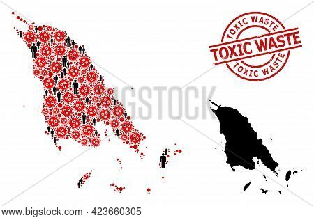 Collage Map Of Koh Chang Composed Of Virus Outbreak Items And People Items. Toxic Waste Scratched Se