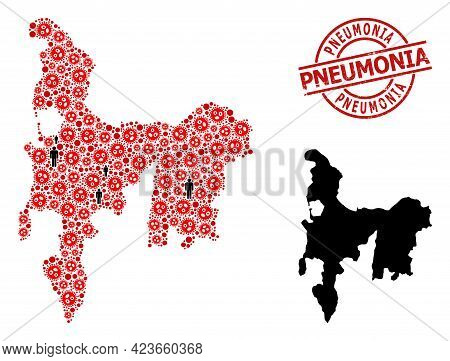 Mosaic Map Of Hamilton Island Constructed From Flu Virus Items And Demographics Icons. Pneumonia Tex