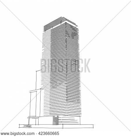 Abstract Architectural Drawing Sketch,illustration