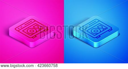 Isometric Line Kitchen Dishwasher Machine Icon Isolated On Pink And Blue Background. Square Button.