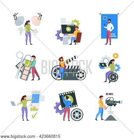 Video Production. Filmmaker Characters Shooting And Filming On Cameras Videography Multimedia Concep