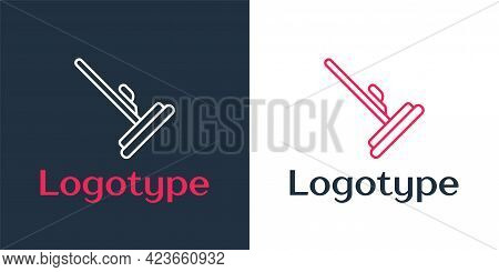 Logotype Line Mop Icon Isolated On White Background. Cleaning Service Concept. Logo Design Template