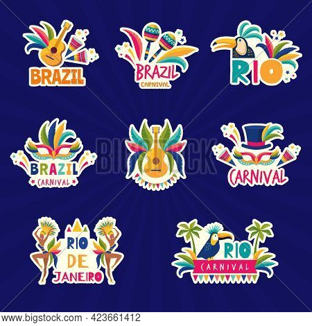 Rio Logo. Brazil Festival Colored Badges Muzical Fiesta Samba Parade Music Instrument Recent Vector