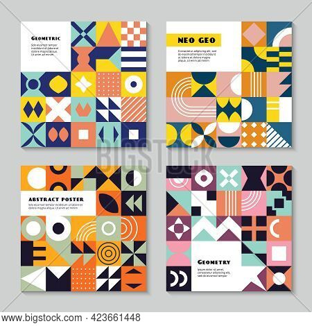 Geometrical Forms. Neo Geo Style Abstract Geometric Colored Shapes Triangles Squares Circles Recent