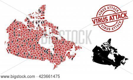 Collage Map Of Canada Designed From Viral Icons And People Icons. Virus Attack Textured Watermark. B