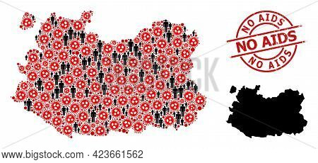 Collage Map Of Ciudad Real Province United From Sars Virus Icons And People Icons. No Aids Distress