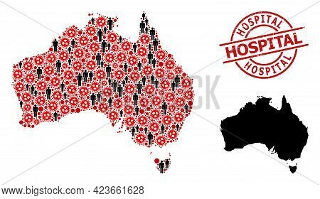 Mosaic Map Of Australia Constructed From Flu Virus Items And People Elements. Hospital Distress Wate
