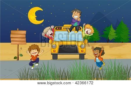 Illustration of giggling kids in the middle of the night