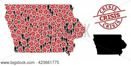 Mosaic Map Of Iowa State Organized From Flu Virus Elements And Humans Icons. Crisis Scratched Stamp.