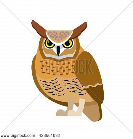 Owl Is A Bird Of Prey, Mainly Nocturnal Birds. Eagle Horned Owl Cartoon Flat Style Beautiful Charact