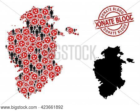 Mosaic Map Of Burgos Province Composed Of Sars Virus Elements And Men Elements. Donate Blood Grunge
