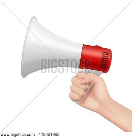 Megaphone In Hand. Lifeguard Talking In Loud Speaker Businessman Holding Megaphone And Speaking Abou