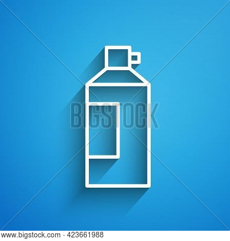 White Line Whipped Cream In An Aerosol Can Icon Isolated On Blue Background. Sweet Dairy Product. Mi