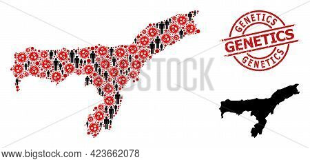 Mosaic Map Of Assam State Composed Of Sars Virus Icons And Population Icons. Genetics Grunge Stamp.
