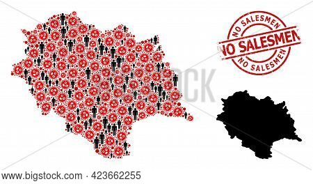 Collage Map Of Himachal Pradesh State Organized From Covid Virus Icons And Demographics Icons. No Sa