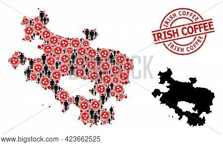 Mosaic Map Of Alava Province Composed Of Virus Icons And Men Icons. Irish Coffee Distress Stamp. Bla